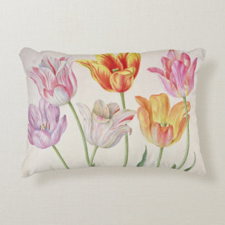 Tulips, from the 'Nassau Florilegium' (w/c on pape Accent Pillow