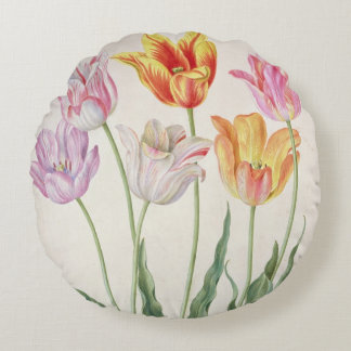 Tulips, from the 'Nassau Florilegium' (w/c on pape Round Pillow