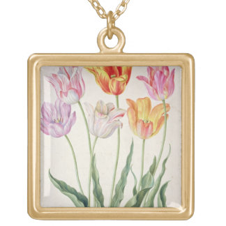 Tulips, from the 'Nassau Florilegium' (w/c on pape Necklace