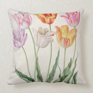 Tulips, from the 'Nassau Florilegium' (w/c on pape Throw Pillows