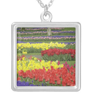Tulips, Grape Hyacinth, and Daffodils, 2 Silver Plated Necklace