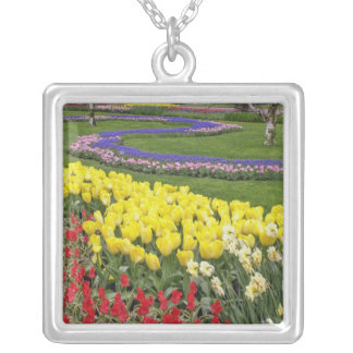 Tulips, Grape Hyacinth, and Daffodils, Silver Plated Necklace