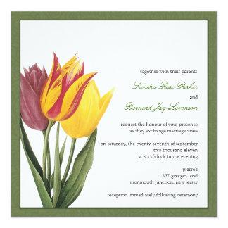 """Tulips Green Border Wedding Invitation 5.25"""" Square Invitation Card"""