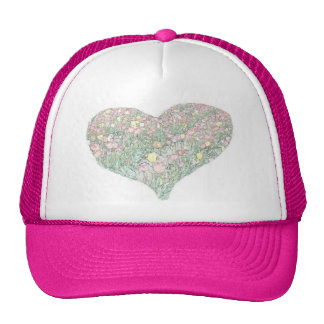 Tulips Hand Drawing Heart Pink Hat