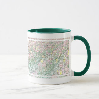 Tulips Hand Drawing Large Green Ringer Mug