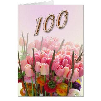 tulips Happy 100th Birthday Greeting Card