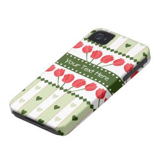 Tulips & Hearts Blackberry Bold case, customize iPhone 4 Case