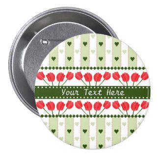 Tulips & Hearts button, customize Pinback Button
