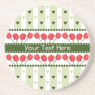 Tulips & Hearts coaster, customize Sandstone Coaster