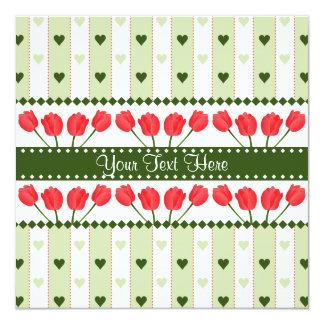 Tulips & Hearts invitation, customize Card