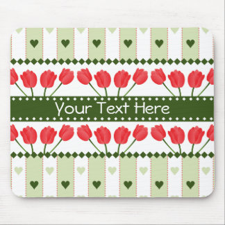 Tulips & Hearts mousepad, customize Mouse Pad