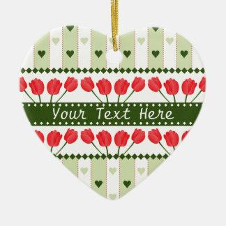 Tulips & Hearts ornament, customize Ceramic Ornament