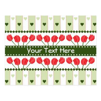 Tulips & Hearts postcard, customize Postcard