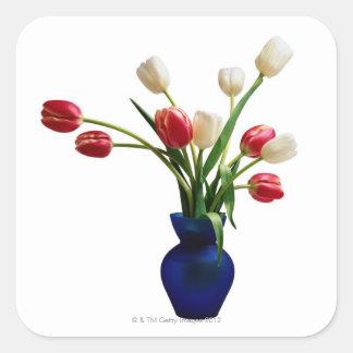 Tulips in a Blue Vase Square Sticker