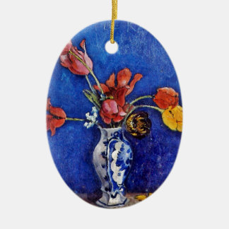 Tulips in a Vase 1895 Double-Sided Oval Ceramic Christmas Ornament