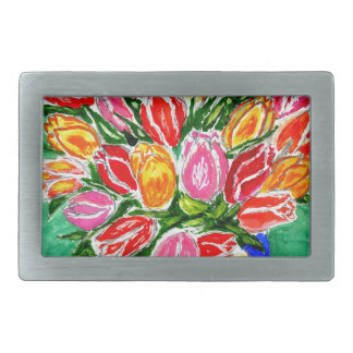 Tulips in a Vase Painting Rectangular Belt Buckle