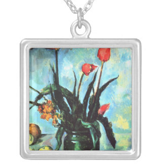 'Tulips in a Vase' Silver Plated Necklace
