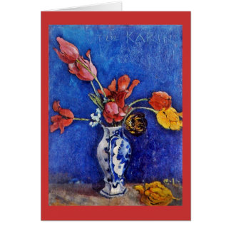 Tulips in Blue Vase 1895 Greeting Card