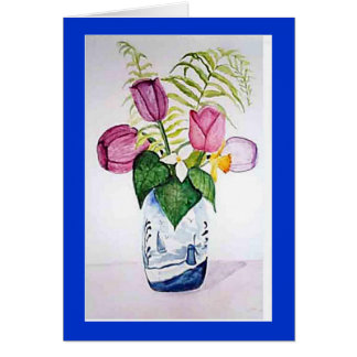 """""""Tulips in Delft Vase"""" Greeting Card"""