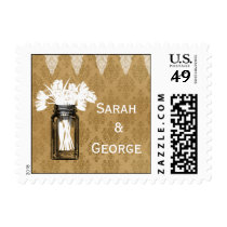 tulips in mason jar, burlap wedding stamps