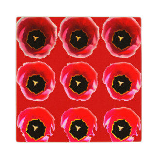 Tulips. In red Wooden Coaster