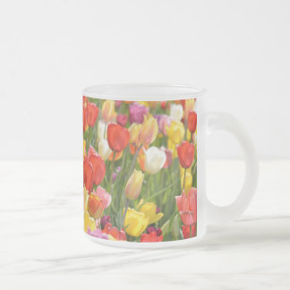 Tulips in the Garden Frosted Glass Coffee Mug