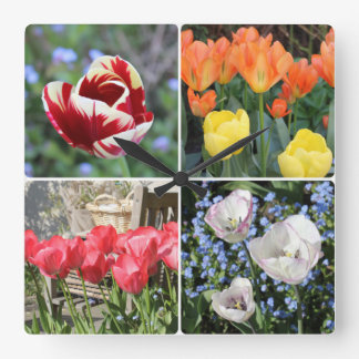 Tulips in the garden photo collage square wallclock