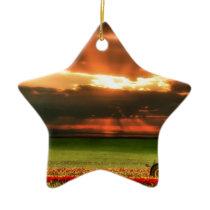 Tulips In The Sunset Ceramic Ornament
