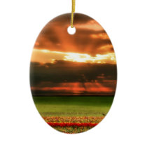 Tulips In The Sunset Ceramic Ornament