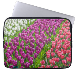 Tulips in three colors laptop sleeve