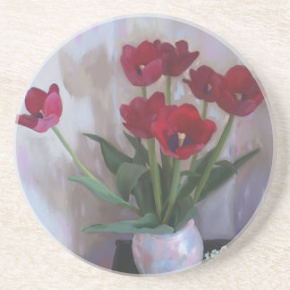 Tulips in vase drink coaster