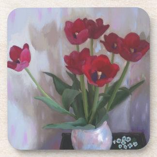 Tulips in vase beverage coaster