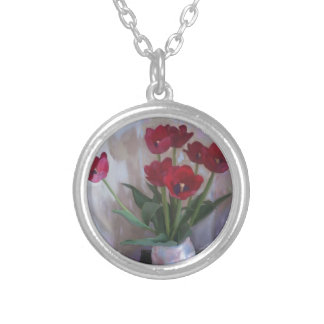 Tulips in vase necklace