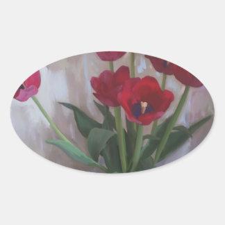 Tulips in vase oval sticker