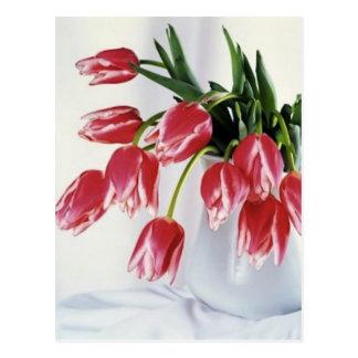 tulips in vase postcard
