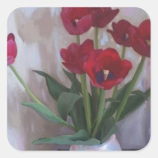 Tulips in vase square sticker