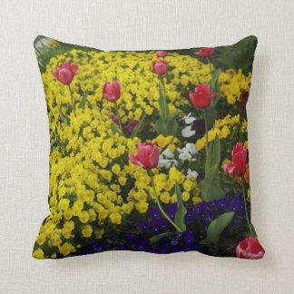 Tulips & Johnny Jump-Ups Throw Pillow