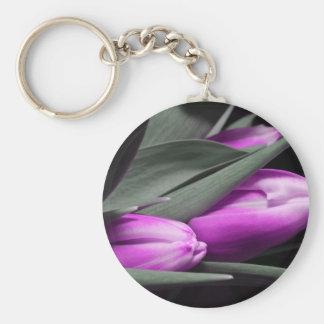 tulips basic round button keychain