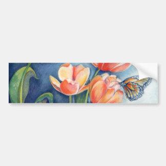 Tulips & Monarch Butterfly Car Bumper Sticker