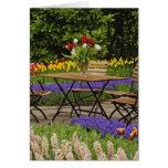 Tulips of table in garden, Keukenhof Gardens, Greeting Cards
