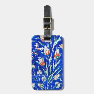 Tulips on blue bag tag