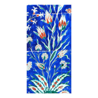 Tulips on blue card
