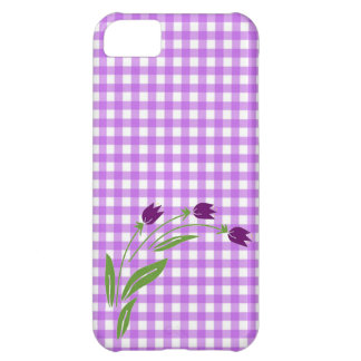 Tulips On Purple Check Background iPhone 5C Cover