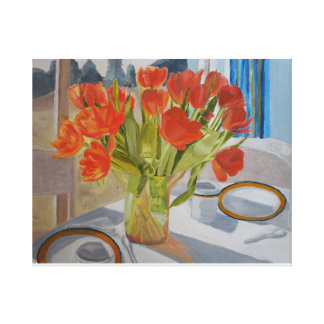 Tulips on the Dining Table Canvas Print