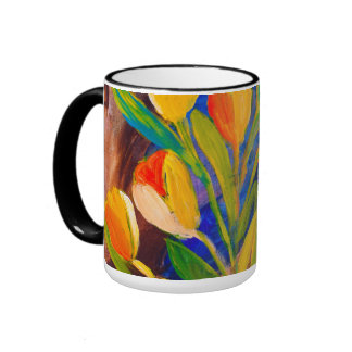 Tulips painting in acrylic by Kay Gale Ringer Mug