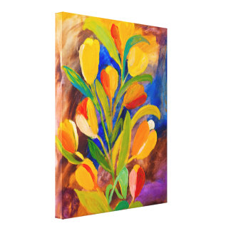 Tulips painting in acrylic canvas print