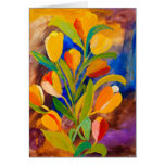 Tulips painting in acrylic cards