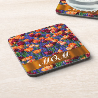 Tulips personalized mom beverage coaster