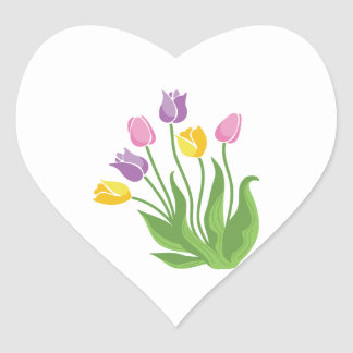 Tulips Plant Heart Sticker