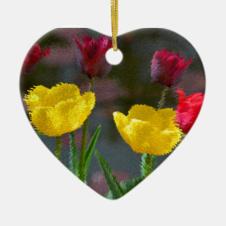 Tulips polychrome flowering, photo extrudes, ceramic ornament